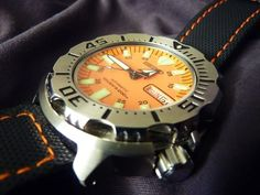 What strap/bracelet variations do you have on your Seiko Monster? - Page 4 Seiko Monster, Watch Straps, Zulu, G Shock, Rolex Watches, Monsters, Orange, Bracelets, Leather