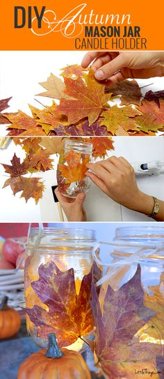 DIY Autumn mason jar candleholder - love this super easy project