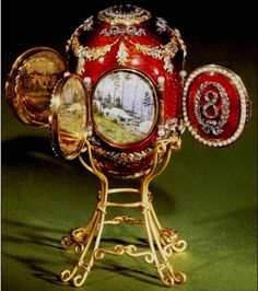 The Caucasian Egg by Karl Faberge, 1893. The egg was made for The Empress Maria Feodorovna. Inside the doors of the egg there are miniatures of the places in The Caucasus where George Alexandrovich, the son of The Empress and The Emperor, has lived. Today the egg is kept by Metropolitan Museum of The USA.