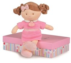 Just In! Look at this adorable doll from luxurious brand #Doudouetcompagnie.  Her name is Miss Rose and she measures 28cm tall.  She comes beautifully packed in a lovely gift box which can be used to store trinkets! #dolls #littlegirls #french #luxurygifts #babygirl
