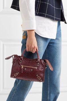 Balenciaga City mini python and leather shoulder bag