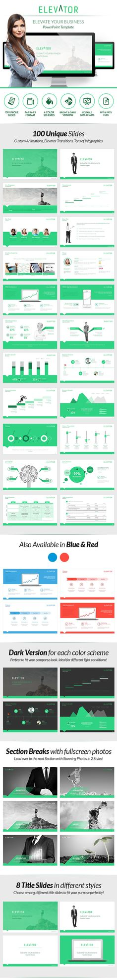 Think mono-color. When you don't know what to do, just make/keep it simple. One color, limited font sizes... Elevator Powerpoint - Elevate your Business on Behance