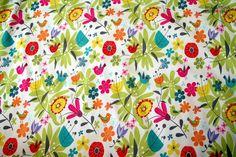 0,5m Softshell weiß bunt Vögel Blumen creme lime  von Sinabambina- Stoffsucht auf DaWanda.com
