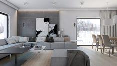 Projekt nowoczesnego pokoju dziennego z jadalnia - Architektura, wnętrza, technologia, design - HomeSquare