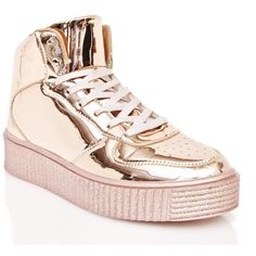 Cyborg Metallic Creeper Sneakers ($45) ❤ liked on Polyvore featuring shoes, sneakers, high top platform sneakers, creeper sneakers, hi tops, creeper shoes and metallic shoes