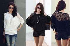 Long Sleeved Lace Batwing Top