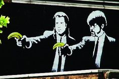 Peel Fiction - Banksy transforms the iconic image of John Travolta and Samuel L. Jackson from Quentin Tarantino's Pulp Fiction into something slightly less menacing on Old Street, London.
