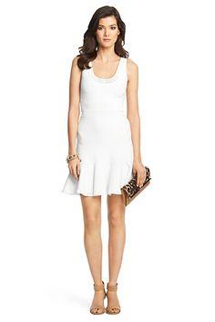 Perry Structured Knit Flared Dress In White by Diane von Furstenberg