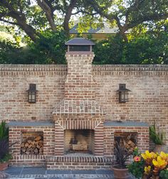 the most amazing brick outdoor fireplace. Here's a sneak peek just for you! I…