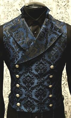 Shrine gothic vampire cavalier vest jacket victorian blue brocade goth steampunk Mens Cavalier Vest by Shrine Clothing Gothic Dresses: Shrine Gothic Vampire CavaShrine gothic green ivoryLadies coat jacket Pirate Steampunk Men, Victorian Steampunk, Steampunk Clothing, Victorian Fashion, Gothic Clothing, Steampunk Fashion Men, Gothic Fashion Men, Victorian Mens Clothing, Steampunk Cosplay