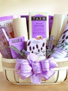 Fields of Lavender Spa Basket For Mom - Stork Baby Gift Baskets Gift Baskets For Women, Mother's Day Gift Baskets, Raffle Baskets, Gift Hampers, Fundraiser Baskets, Basket Gift, Unique Mothers Day Gifts, Gifts For Mom, Girl Gifts