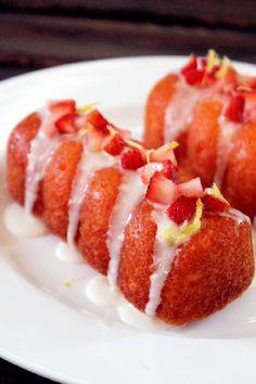 Strawberry Lemonade Doughnuts~ by Creole Contessa Delicious Deserts, Yummy Food, Churros, Donut Recipes, Cooking Recipes, Strawberry Recipes, Strawberry Lemonade, Just Desserts, Dessert Recipes