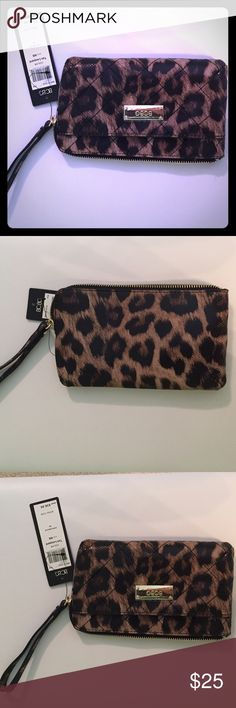 NWT BCBG Fairfax Leo Leopard print wristlet Super cute BCBG Wristlet with leopard print faux leather with embossed snake print. Black fabric lining with card pockets. Perfect for a night out!7.75'' W x 4.5'' H 5.25'' wrist strap Man-made Zip closure Exterior: one slip pocket Interior: standard wallet pockets BCBG Bags Clutches & Wristlets