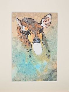 ARTFINDER: Doe Eyes Original Framed Ink On Canva... by artbyhew - Handmade item: Deer etching with multi coloured ink  from my Christmas collection  Materials: pen, ink, canvas, print, original, painting, modern wall art,...