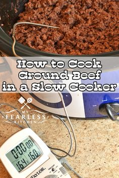 How to Cook Ground Beef in a Slow Cooker from My Fearless Kitchen. Have you ever cooked ground beef in bulk? Cooking ground beef in your crock pot is a great way to stock your freezer for quick meals on busy nights! #groundbeef #slowcooker #makeahead #crockpot