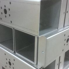 Interesting set of folded sheet metal boxes successfully completed by V and F Sheetmetal Ltd, Hampshire. Mild Steel Sheet, Steel Sheet Metal, Sheet Metal Work, Metal Company, Metal Box, Metal Projects, Box Design, Hampshire, Metal Working
