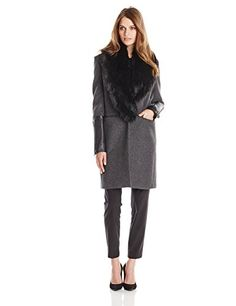 Calvin Klein Faux-Fur-Collar Walker Coat - Coats - Women - Macy's ...