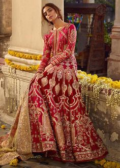 Red Bridal dress in Silk Georgette embellished with beads, crystals, Swaroski, Kasab, Dabka and Sequins. For booking please contact Asian Bridal Dresses, Pakistani Formal Dresses, Indian Bridal Outfits, Bridal Lehenga Choli, Pakistani Bridal Dresses, Pakistani Wedding Dresses, Pakistani Dress Design, Indian Designer Outfits, Pakistani Outfits