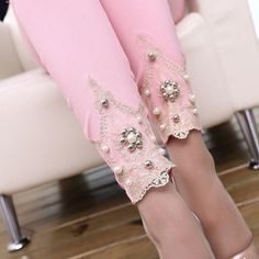 Jewelery Handtailor Patchwork Spliced Pants Embroidery Rhinesto Cotton Blended Panties Casual Skinny Street Pant Leggings Pink X Casual Decor, White Trousers, Pants For Women, Clothes For Women, Ankle Length Pants, Black White Pink, Color Black, Pants Pattern, Fashion Pants