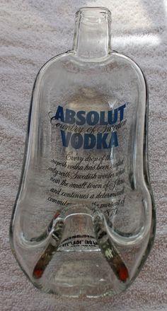 absolut glass bottle slumped