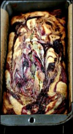 Double Berry Swirl Vanilla Greek Yogurt Cake - Incredibly moist, with ribbons of blackberry and raspberry throughout the whole cake! OMG - SO GOOD!