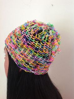 Rainbow loom beanie made using dragon scale technique for sale on eBay