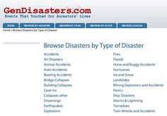 """GenDisasters.com is an online database of """"information on the [U.S. and Canadian] historic disasters, events, and tragic accidents our ancestors endured."""""""