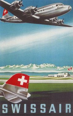 Swissair 1950s Swiss Alps - www.MadMenArt.com features over 400 Airplane Ads…