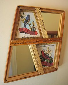 Mirror with Vintage Yardsticks and Wooden Wood Tennis Racket Racquet Presses Press Bluebird Cardinal Repurposed Upcycled. $310.00, via Etsy.