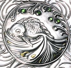 "Rocío Heredia ~ ""Elixir of Life"" detail ~ Fine Silver, 24 K gold, peridots, patina, bees wax. Repoussé"