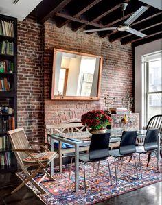 dining room, rug, brick, texture, interiors, design