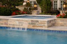 Lake Forest, IL Swimming Pool and Raised Hot Tub with Laminar Fountains
