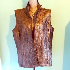 Chico's Bronze Vest Sz 3 XL/1X 16/18 Zips in front. Unlined. Sz 3 is approx 16 but fits 18 also. Chico's Jackets & Coats Vests