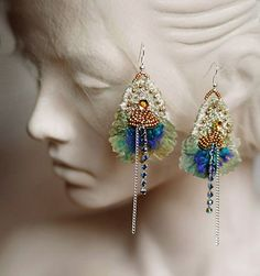 Oriental I  unique hand embroidered earrings with silk by bonheur (Krista Rääk)