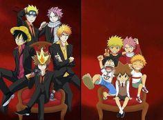 Anime charecters!!! Naruto, Ichigo, Natsu, Luffy and Tsunayoshi!!  <3!!