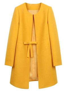 Wool Coat Women abrigos mujer winter Long Jacket Coats Elegant Solid 3 Colors Plus Size Abrigos Mujer invierno 2016 Casaco Hijab A Enfiler, Long Overcoat, Yellow Coat, Collarless Jacket, Langer Mantel, Vintage Mode, Vintage Style, Mode Outfits, Look Fashion