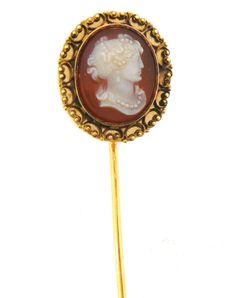 Cameo and Gold Stick Pin