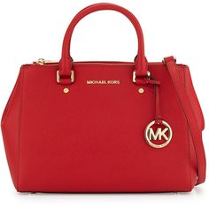 MICHAEL Michael Kors Sutton Medium Saffiano Satchel Bag ($328) ❤ liked on Polyvore featuring bags, handbags, red, satchel style handbags, handle satchel, red satchel handbags, red satchel and satchel hand bags