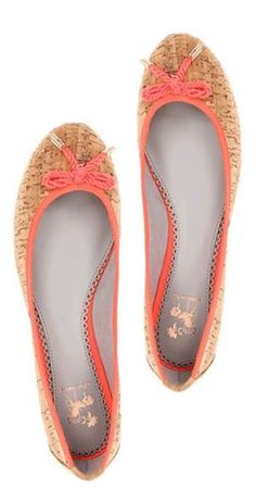 So cute, natural cork ballet flats with orange accent