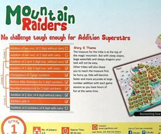 Mountain Raiders Board Game W Addition of 3 DIGIT Numbers Stem T Pink for sale online