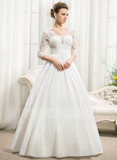 A-Linie/Princess-Linie V-Ausschnitt Bodenlang Taft Spitze Brautkleid mit Rüschen Perlen verziert Pailletten (002056594) - JJsHouse