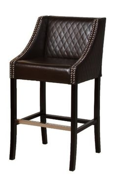 BEST Milano Leather Bar Stool, Brown by Best. $179.99. Brown color can work as both a neutral or can become the focal point of your room. Dimensions: 21 L by 22 W by 41 H. A perfect piece to help with that transition from kitchen to living room. Comfortable design features arm rests and a foot rest. Elegant barstools are an essential part of transitioning from your kitchen to your living room. The Milano Leather Bar Stool is made of buttery-soft brown bonded leat...