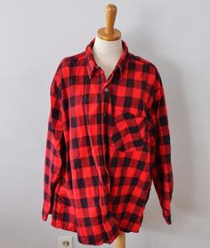 Vtg 80s Open Trails Buffalo Plaid Flannel Shirt Men 3XL xxxl black red cotton F3 #OpenTrails #ButtonFront