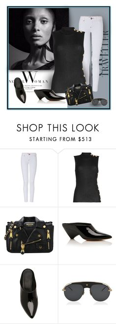 """""""Button me Down"""" by michelletheaflack ❤ liked on Polyvore featuring Balmain, Moschino, Maison Margiela, Christian Dior, button and styleinsider"""