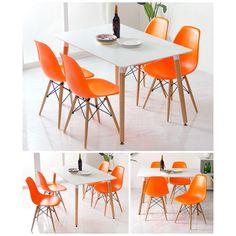 Eames Style DSW Molded Orange Plastic Dining Shell Chair with Dark Walnut Wood Eiffel Legs