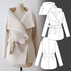 Sophia / Draped Collar Coat - Tamanegi-kobo