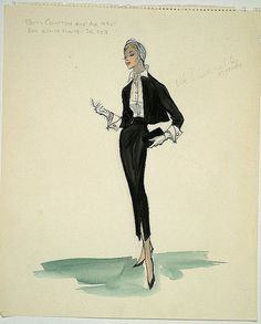 Edith Head, costume ketch for Vera Miles in 'Beau Monde', Paramount, 1959