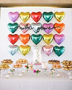 Heart-themed Valentine's birthday party Layer Cakelet) First Birthday Parties, First Birthdays, Happy Birthday, Birthday Presents, 60th Birthday, Unicorn Birthday, Birthday Ideas, Valentinstag Party, Heart Party