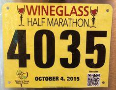 10th Half Marathon - WINEGLASS HALF MARATHON.  October 4, 2015.  Corning, New York.  Time 2:21:35 hrs (10:48). Running Bibs, Company Logo, Logos, Logo