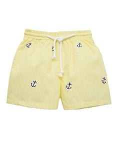 Love this Yellow Anchor Swim Trunks - Infant, Toddler & Boys by K&L on #zulily! #zulilyfinds
